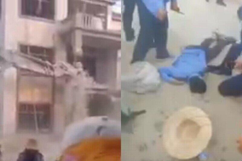 В Китае при сносе постройки пострадал полицейский - местные жители аплодировали