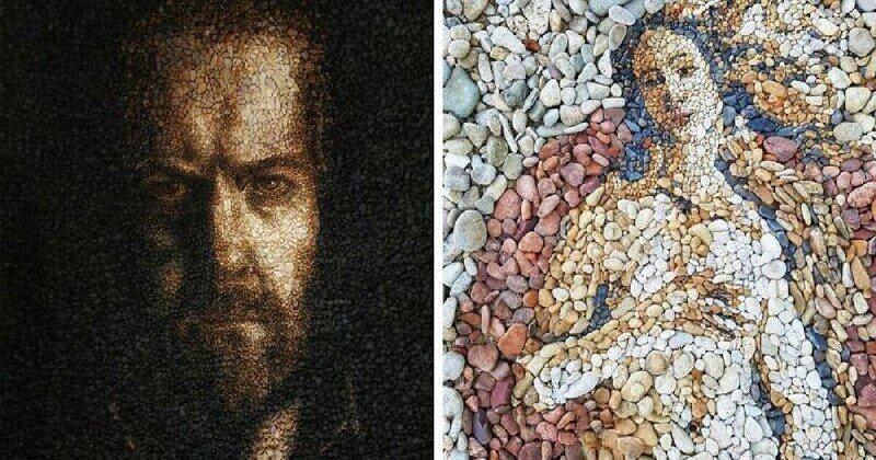 Музей на пляже: художник воссоздает известные картины с помощью разноцветной гальки