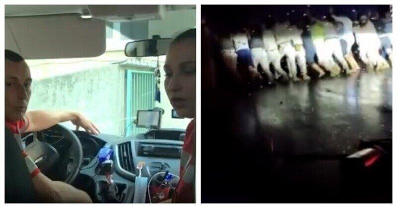 Водители вручную стащили с дороги фуру ради спасения ребенка