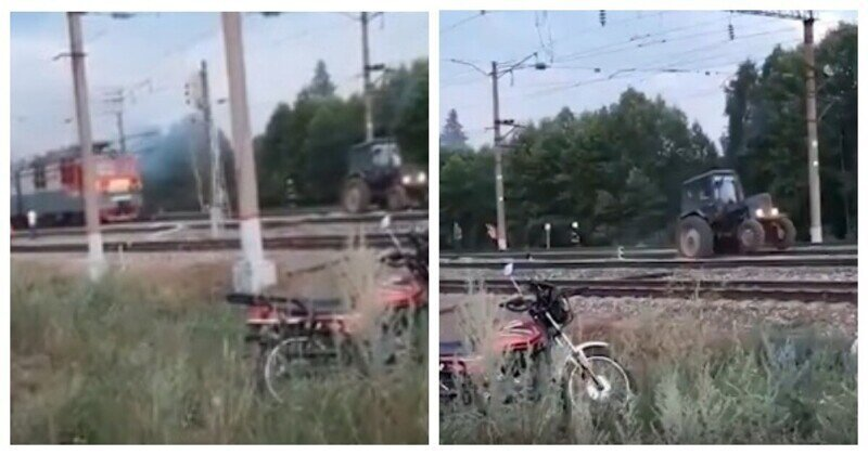 В Нижегородской области трактором оттаскивали горящий локомотив от цистерн с топливом