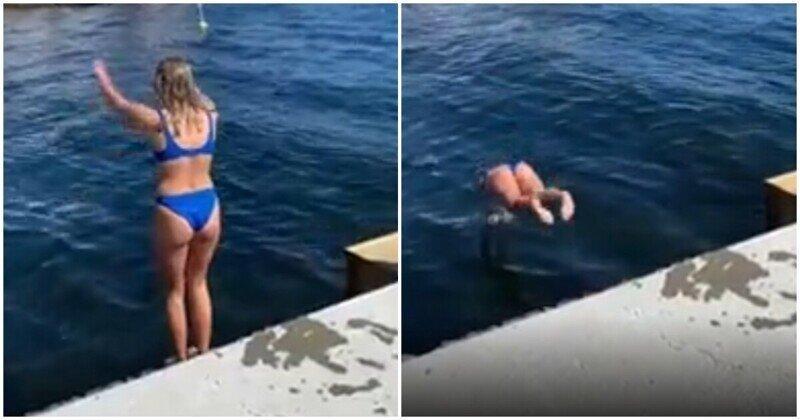 Девушка прыгнула в воду и заслужила необычные аплодисменты