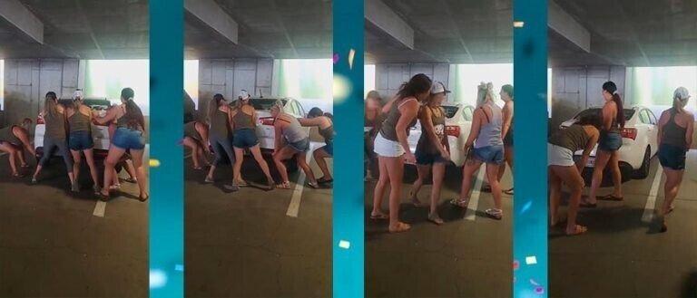 Пятеро девушек подняли и переместили плохо припаркованную машину