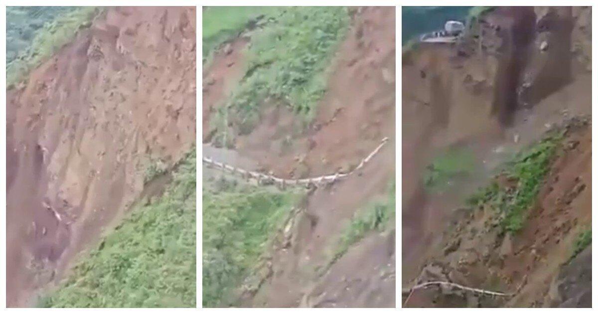 В Индии прошёл масштабный оползень и попал на видео