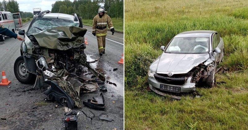 Авария дня.  На трассе в Омской области в ДТП пострадали шесть человек