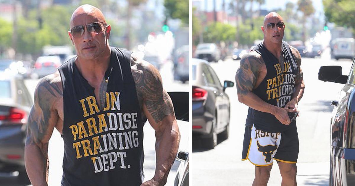 Дуэйн «Скала» Джонсон красуется мышцами по дороге в тренажерный зал