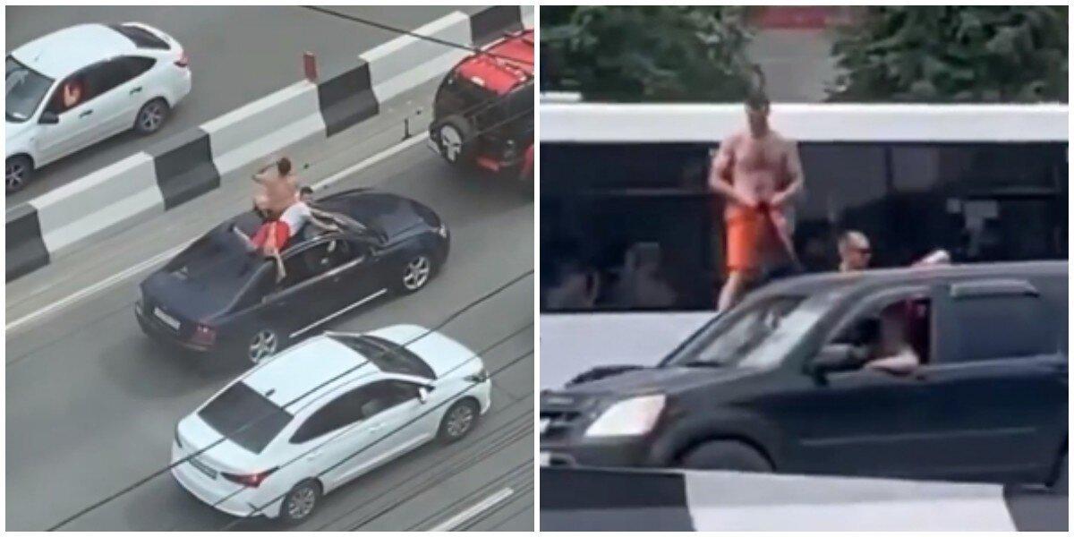 По Новосибирску парни прокатились на крыше автомобиля и нарвались на штраф
