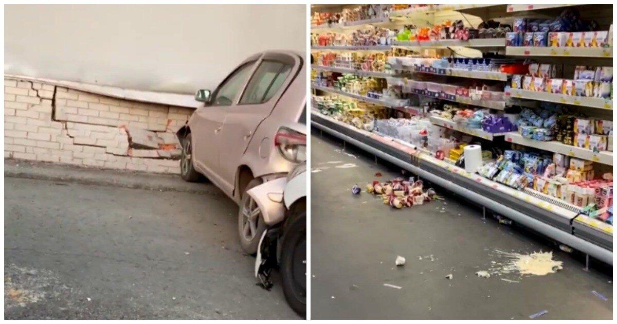 Горе-дрифтеры из южных республик едва не пробили стену торгового центра в Новосибирске