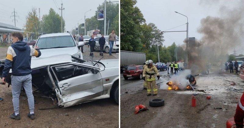 Авария дня. Молодой лихач устроил массовое ДТП в Уфе