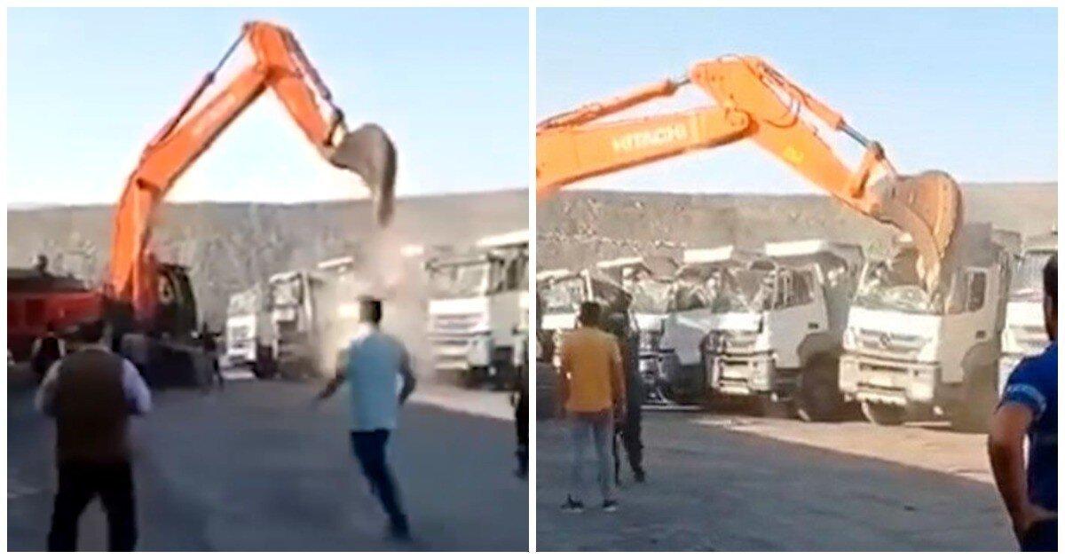 Экскаваторщик загрустил от низкой зарплаты и уничтожил 5 грузовиков