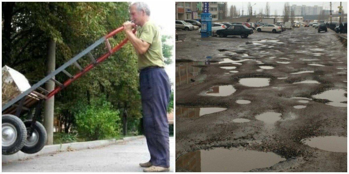 Чиновники запугали штрафами россиянина, который вот уже несколько лет сам ремонтирует дороги