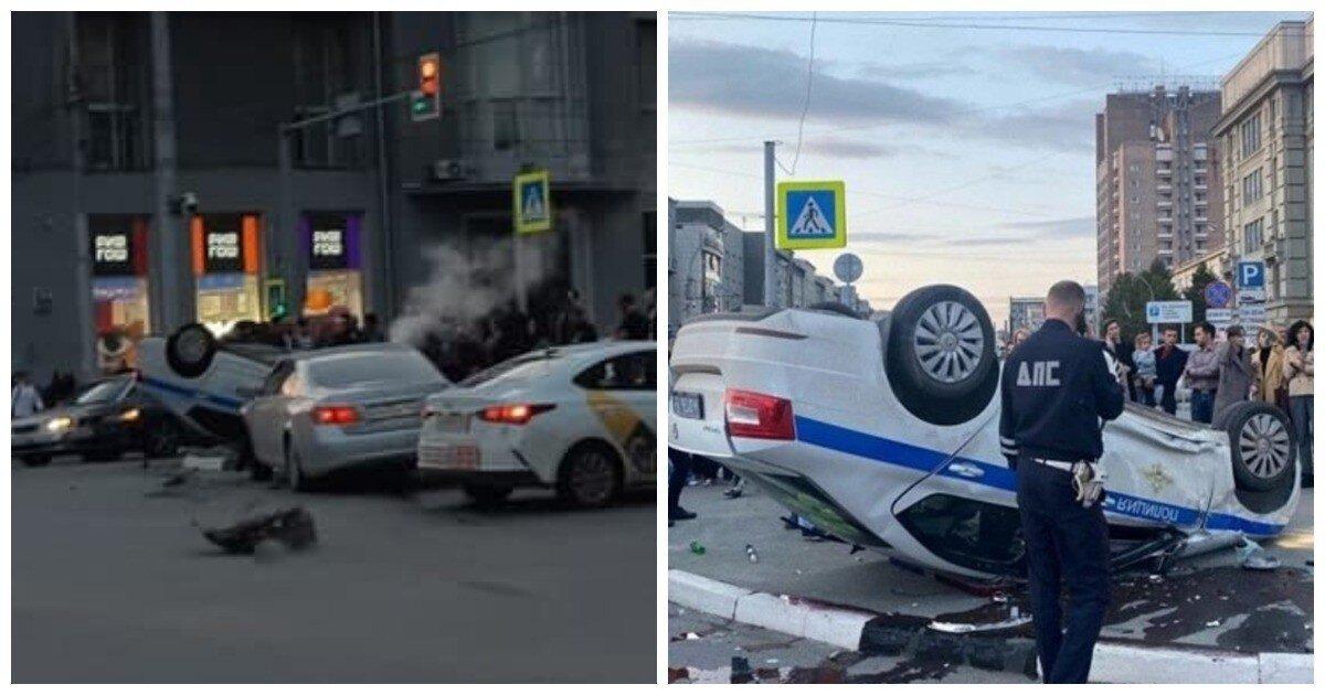 """В Новосибирске """"Лексус"""" протаранил и перевернул автомобиль ДПС"""