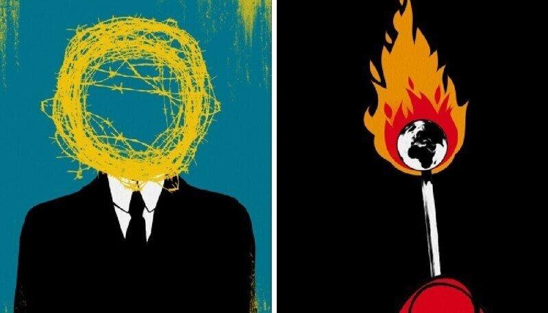 Художник создает иллюстрации о проблемах современного общества, понятные без слов