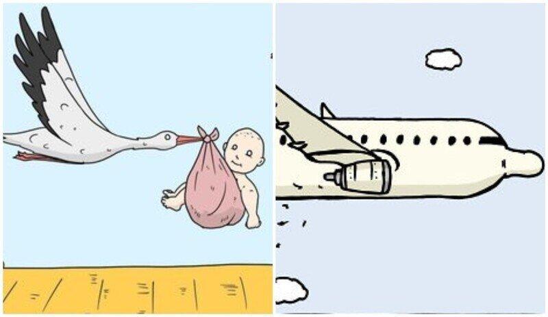 Художник рисует комиксы для любителей странного и черного юмора