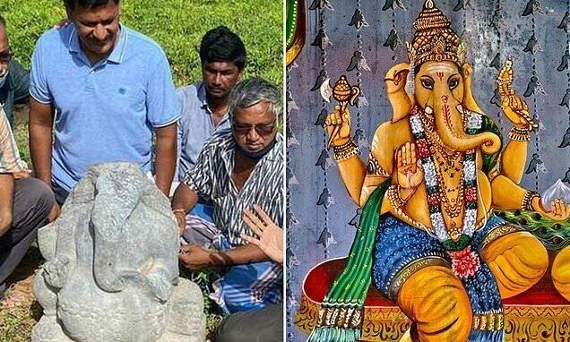 В индийской деревне откопали каменного Ганешу прямо перед фестивалем Ганеша-чатуртхи