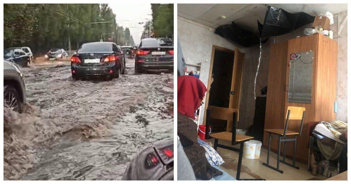 Ливень в Воронеже превратил водителей в капитанов дальнего и ближнего плавания