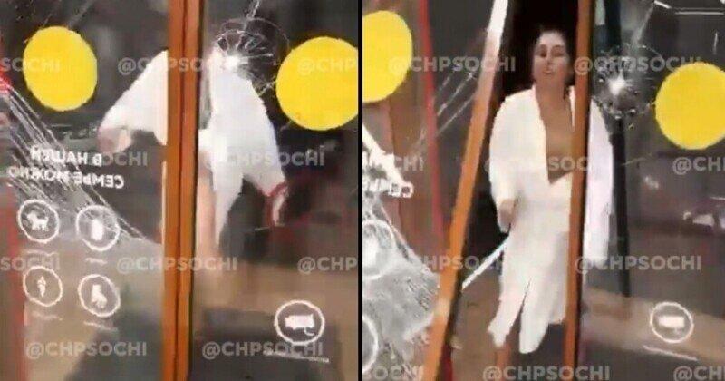 Дебоширка в Сочи вышибла стеклянную дверь магазина, рассердившись на замечание продавца