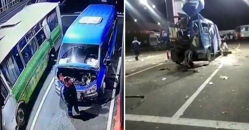 «ГАЗель» разворотило: взрыв газового баллона на заправке в Ингушетии