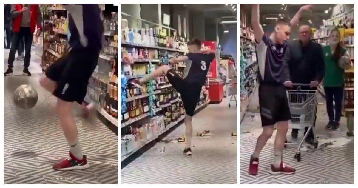 Пермяк ради хайпа учинил футбол в супермаркете