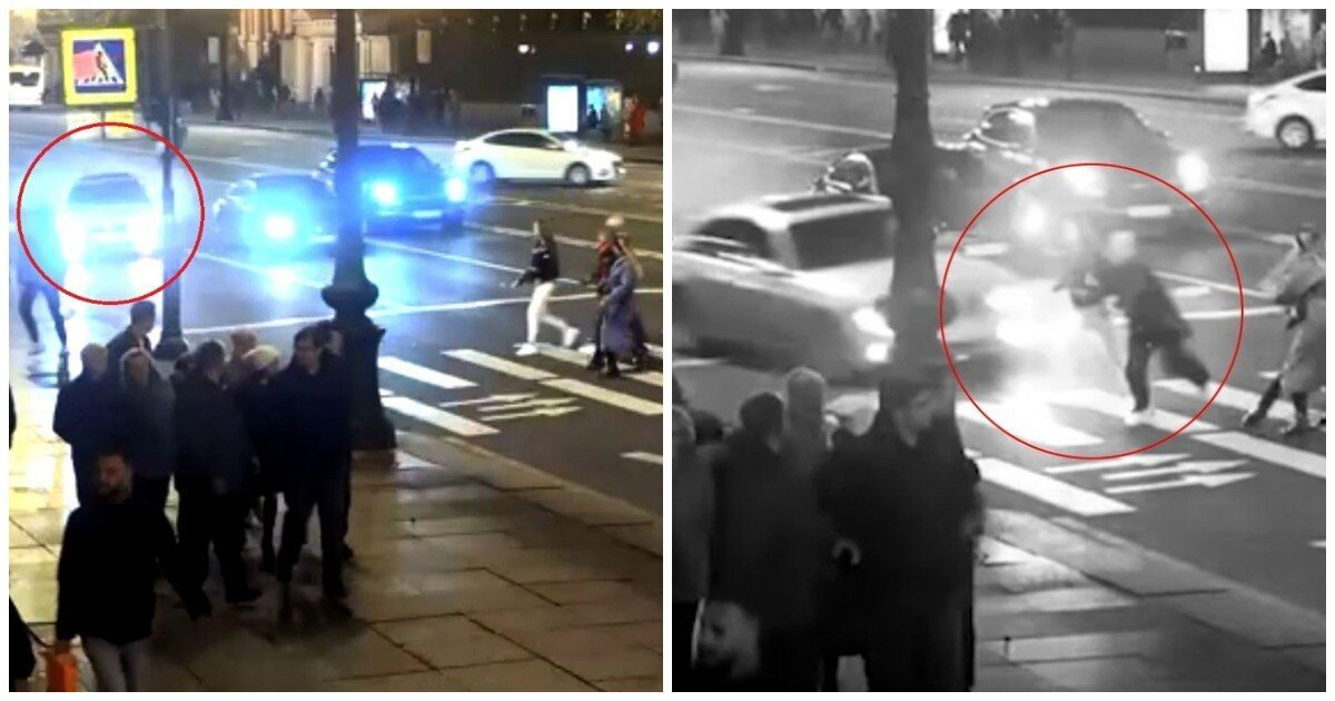 Лихач на BMW снес двух девушек на пешеходном переходе в Петербурге