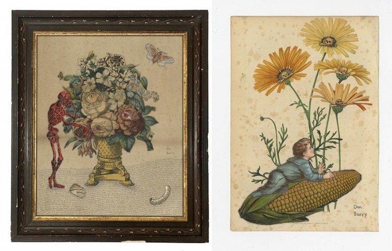 Уникальные коллажи Дэна Бэрри, включающие ботанику и темы смертности