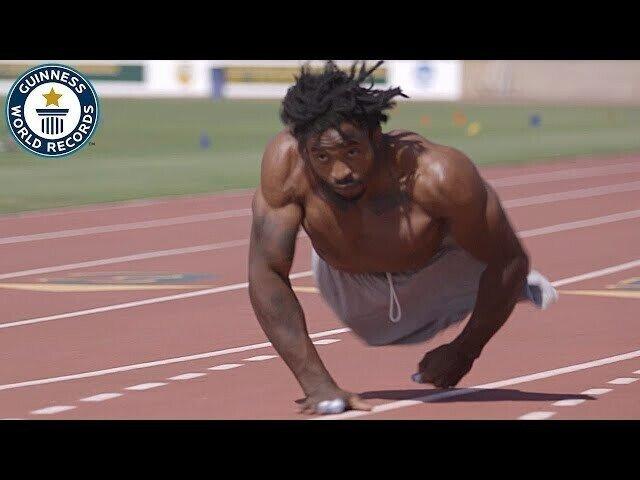 Безногий борец поставил рекорд по бегу на руках