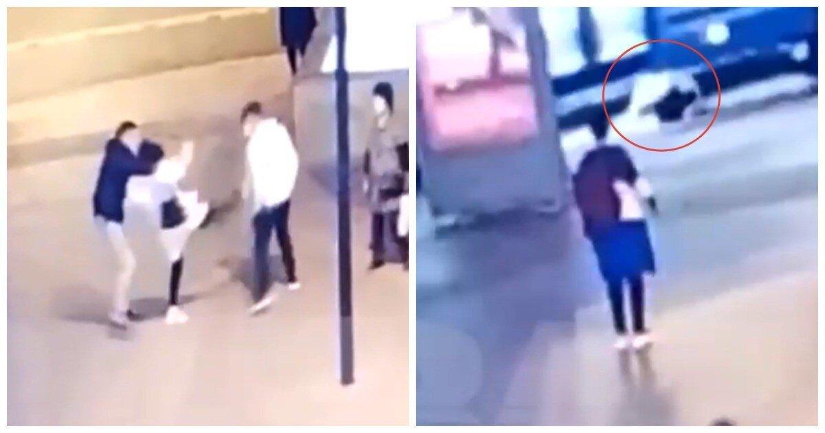 В Москве прохожая напала на мужчину, получила сдачи и оказалась под колесами электробуса