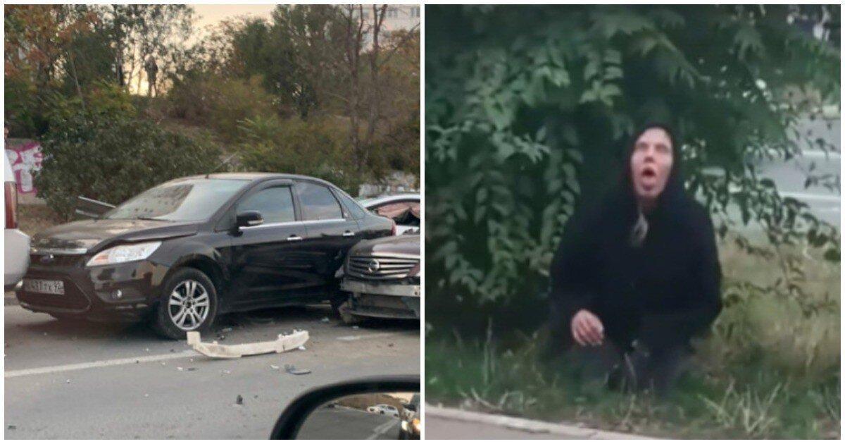 В Севастополе дама под веществами протаранила 5 авто, выползла из машины и погрузилась в транс