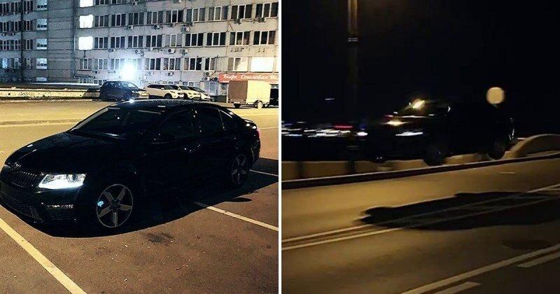 В Петербурге водитель «Шкоды» использовал мост в качестве трамплина и пролетел несколько десятков метров