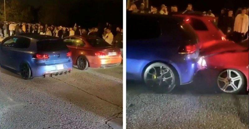 Неловкий момент: уличный гонщик тронулся задним ходом и врезался в машину