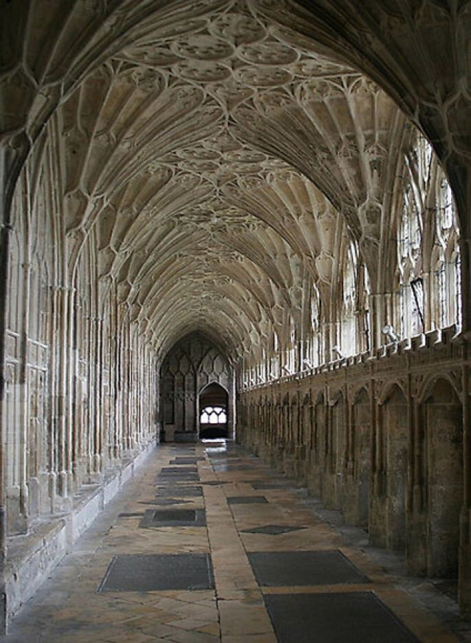 Cloisters of Gloucester Cathedral, England