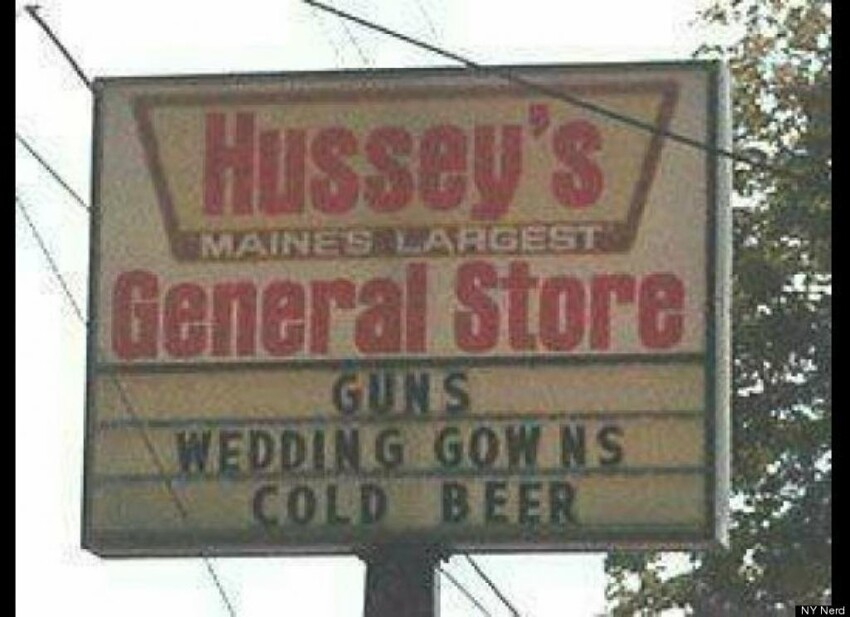 Guns, wedding gowns, and beer
