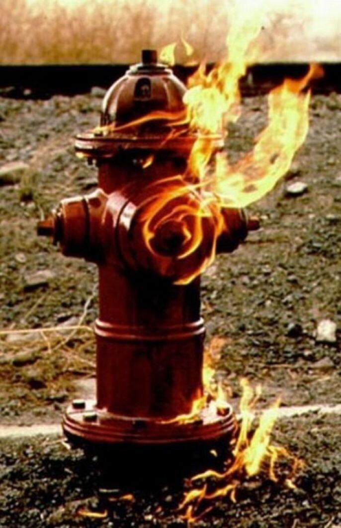 Fire hydrant on fire