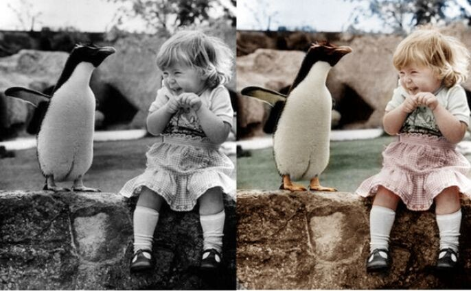 Old Penguin and girl photo restored