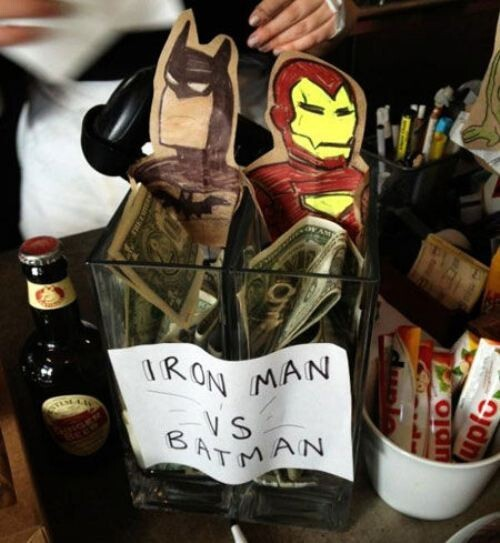 Iron Man Vs Batman Tip Jar