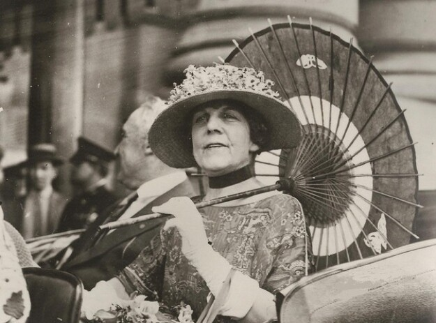 Florence Harding with parasol