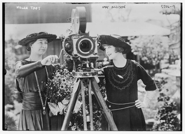 Helen Taft with a movie camera