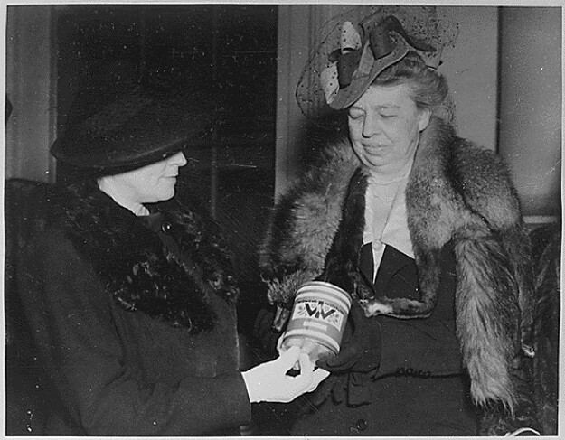 Eleanor Roosevelt with a can that is totally grossing her out