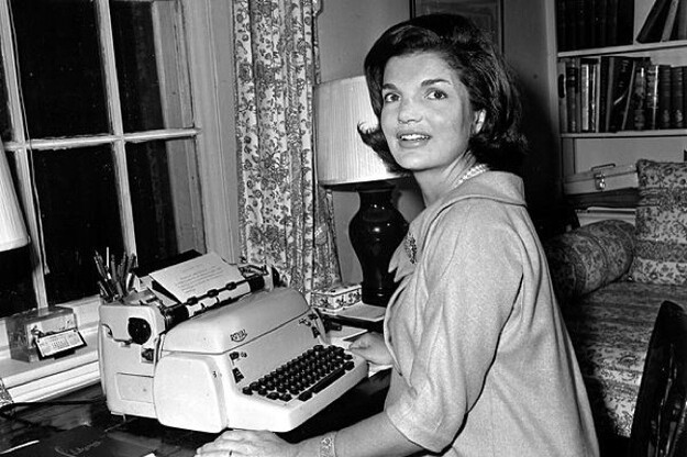 Jackie Kennedy with a typewriter. This is as ridiculous as she'd get. Seriously. Jackie was ALWAYS cool calm and collect