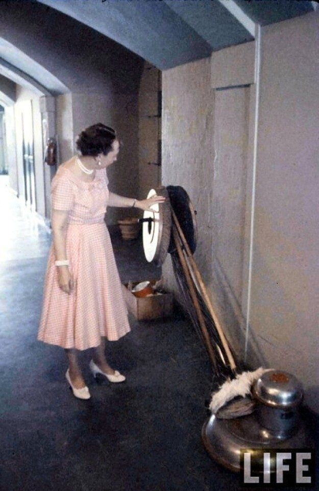 Mamie Eisenhower and a giant floor buffer