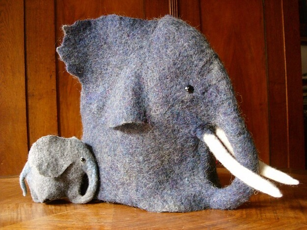 15. This felted elephant tea cozy and egg-warmer