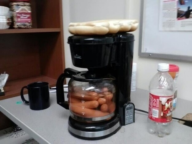 Brew a cup of hot dogs