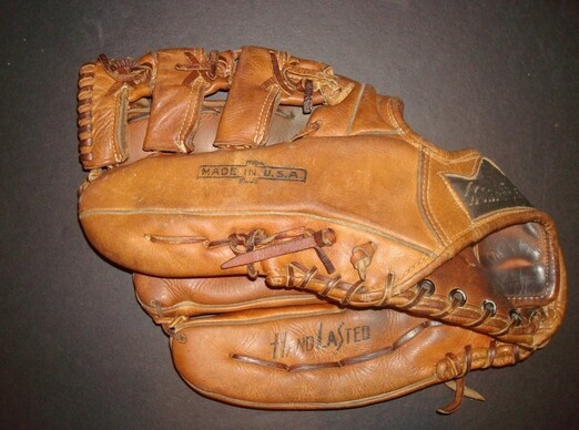 Only one gross lefty glove in gym class