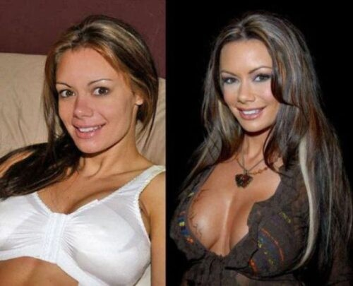 Porn stars before and after they apply makeup