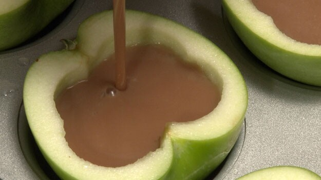 Fill each apple cup with caramel jello mixture.