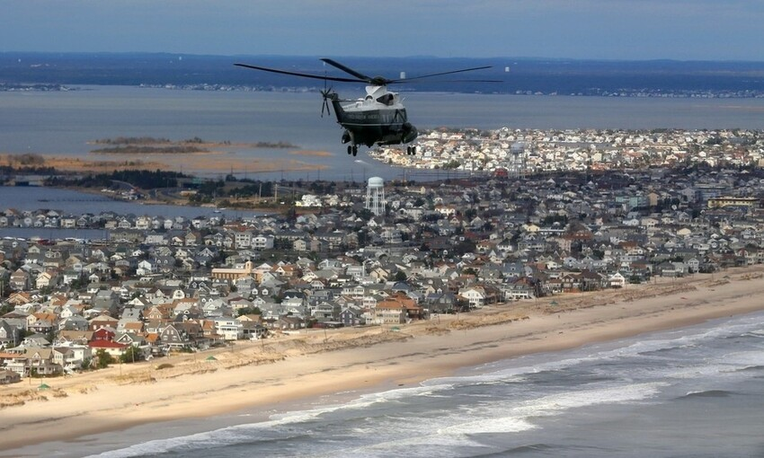 Marine One, carrying President Obama and Governor Christie, takes an aerial tour of the Atlantic Coast in New Jersey in