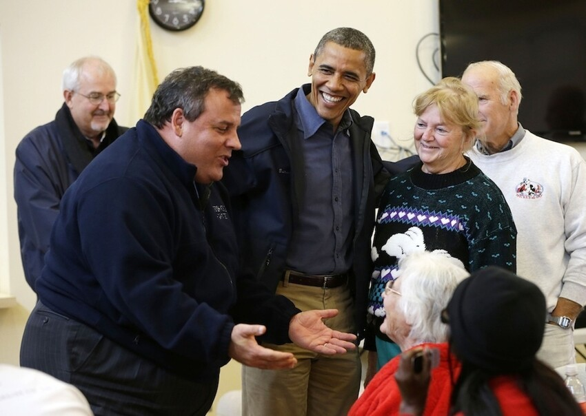 President Obama And Chris Christie Tour Storm Damage