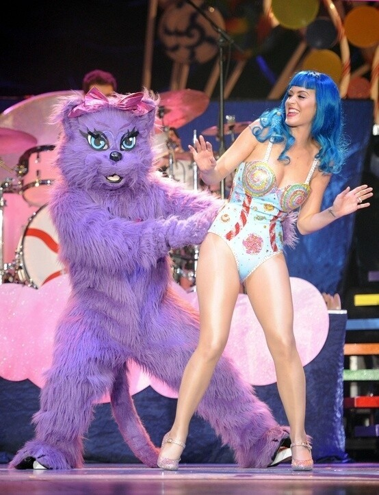 Katy Perry has a furry mascot called Kitty Purry.
