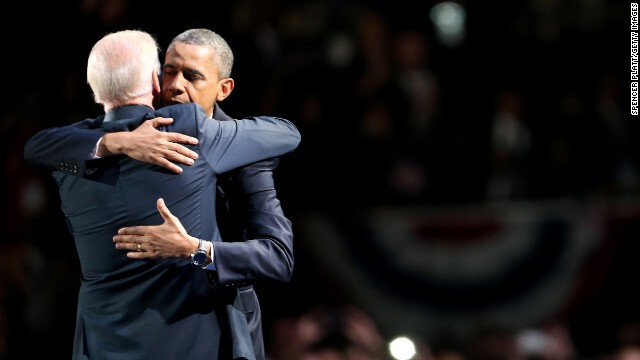 The President and VP Joe Biden hug it out
