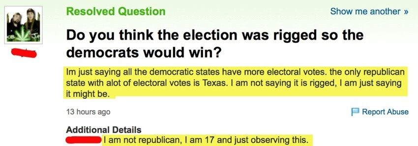 Yahoo! Answers is Home to the Stupidest Election Questions