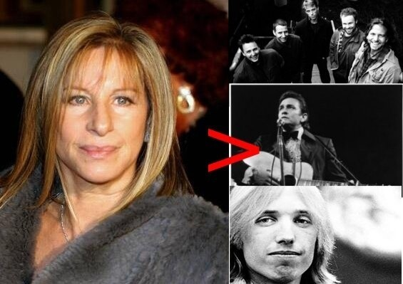 Barbra Streisand has sold more records (140 million) than Pearl Jam, Johnny Cash, and Tom Petty combined